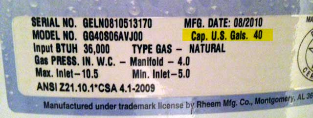 Label showing how big your current water heater is